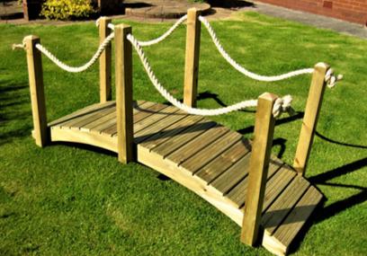 Wooden Garden Rope Bridge